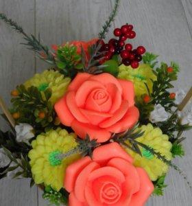 """Букет из мыла """" Розы с хризантемами """""""