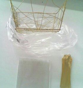 Корзинка для упаковки подарка,слюда и бант