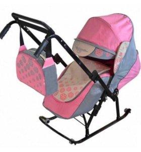 Санки-коляска Розовая снежинка