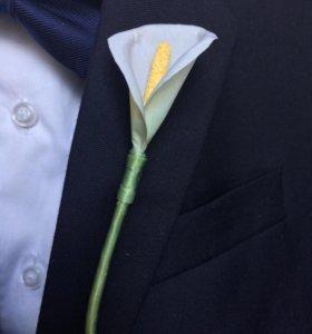 Калла. Цветок из шелка.Украшение-аксессуар