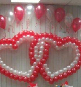 Сердца на свадьбу из шаров, украшение на свадьбу,