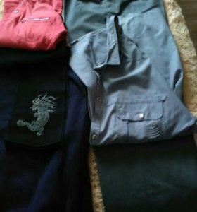 Пакет мужской одежды.Брюки,рубашки,футболка,трико