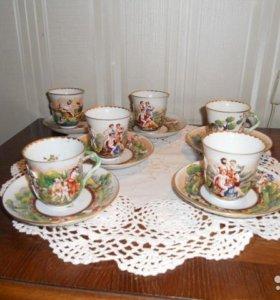 кофейные чашки антиквар Италия клеймо Каподимонте