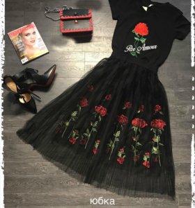 Новая футболка роза юбка фатин вышивка сетка сумка