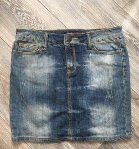 Юбка джинсовая с потертостями