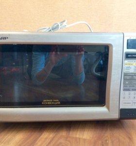 Микроволновка +гриль +духовка Sharp R-877H