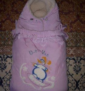 Конверт-одеяло в коляску на овчине