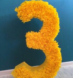"""Цифра """"3"""" из бумаги"""