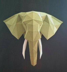 Голова слона из картона
