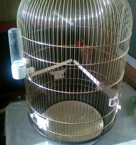 Большая, круглая клетка для птиц, б/у.