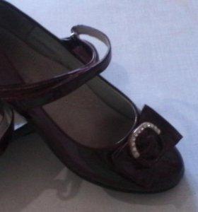 Туфли 35 р. бордовые, одеты пару раз