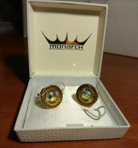 Запонки позолоченные винтажные Monarch