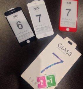 Защитные 3D стекла на iPhone 6,6s,7