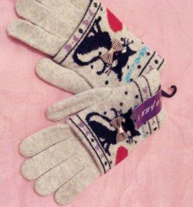 Ангоровые перчатки для девочки