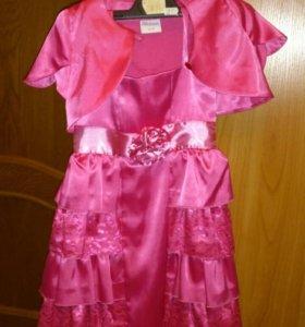 Платье атласное с болеро на шнуровке сзади
