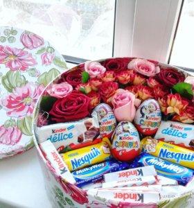 Цветочно-конфетная коробочка