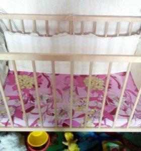 Новая кроватка детская с матрасом
