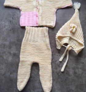 Тёплый костюмчик, шапочка, пинетки р 68
