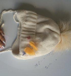 Шапка зимняя на флисе очень тёплая с помпоном
