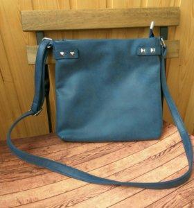 Синяя сумка под нубук