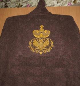 мужской махровый халат с вышивкой на спине
