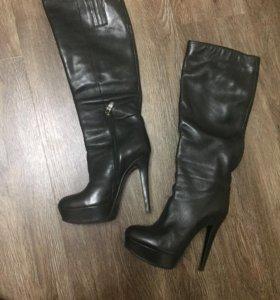 Сапоги демисезонные кожаные женские, размер 36