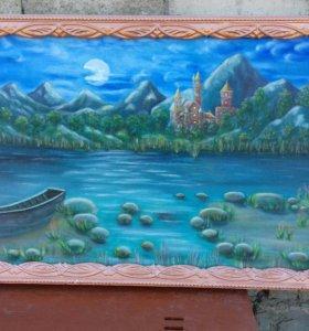 "Картина ""Вечер у реки """