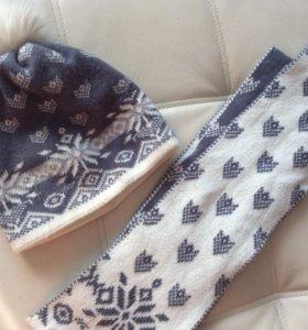 Комплект шапка и шарф зимние