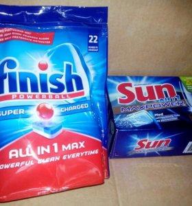 Таблетки для посудомоечных машин Finish и Sun