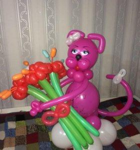 Кошечка из шариков /розовая пантера