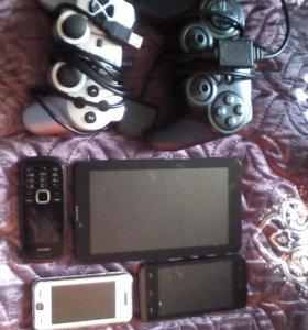 Телефоны, планшет, джойстики