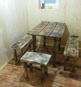 Садовый стол и скамейки ( обожжённое дерево )