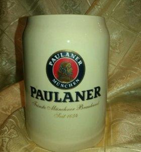Коллекционная керамическая пивная кружка PAULANER