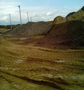 Щебень, песок,земля.