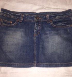 Джинсовая мини юбка Zara 46-48