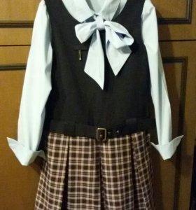 Школьный сарафан + блузка