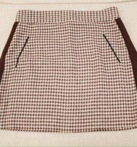Новая шерстяная юбка ZARA с лампасами