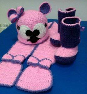 Комплект детский утеплённый (шапка+шарф)