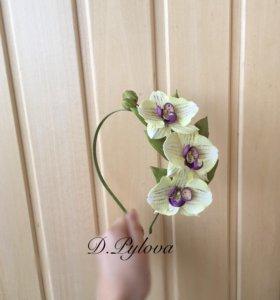Ободок с орхидеями