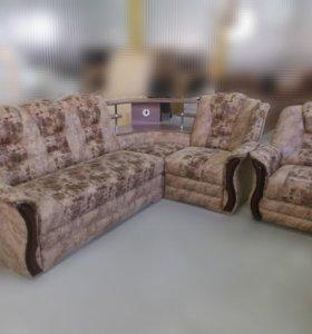 """0870 диван угловой """"Аделина"""" с баром и креслом"""