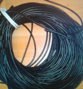 Уличный сетевой кабель с тросом. Б/У. Для Интернет