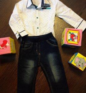Джинсы с рубашкой 80-86