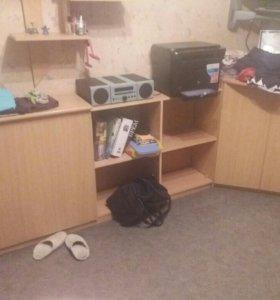 Шкафы, стол, стелаж.