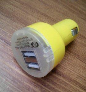 Зарядка в прикуриватель с 2 разъемами USB