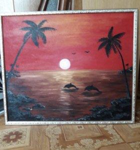 Картина дельфины, масло, размер 75×63