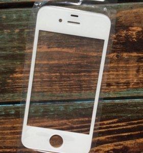 Новое переднее стекло на iphone 4s,4 белый.