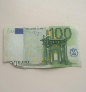 Купюра 100евро без уголка