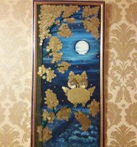 Картина из манет СССР. Денежное дерево с совой.