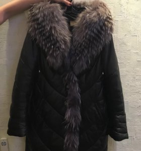 Пуховик кожаный зимний размер 44-46 натуральн.кожа