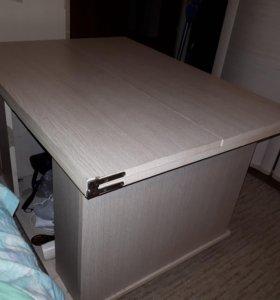 Журнальный стол трансформер беленый дуб